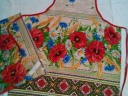 Фартуки кухонные, прихватки в украинском стиле, лён